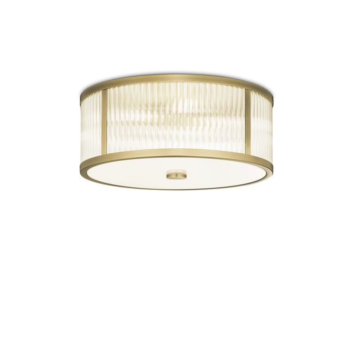 "Harper 14"" LED Round Glass Rod Flush Mount, Aged Brass"