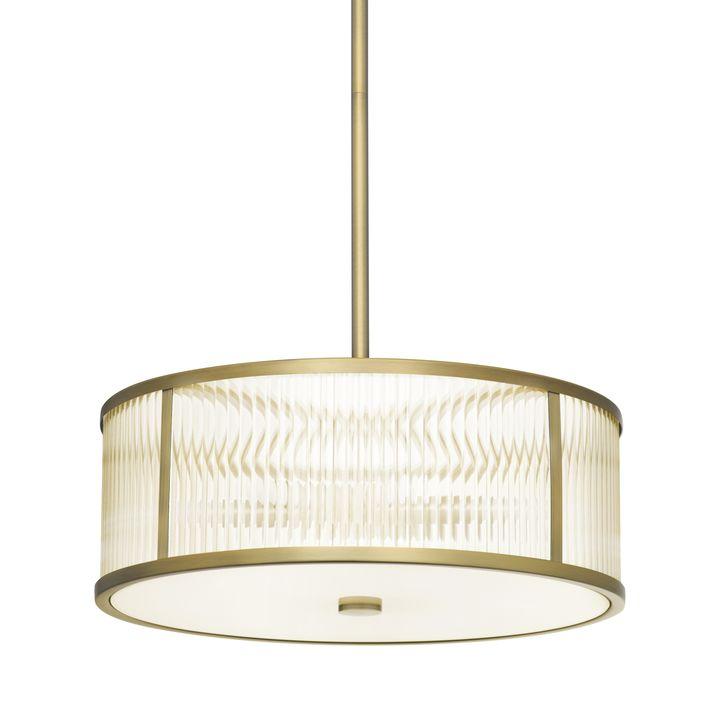 """Harper 18"""" LED Glass Rod Pendant, Aged Brass"""