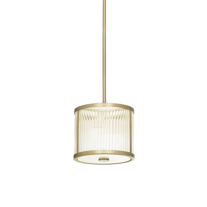"Harper 8.5"" LED Glass Rod Pendant, Aged Brass"