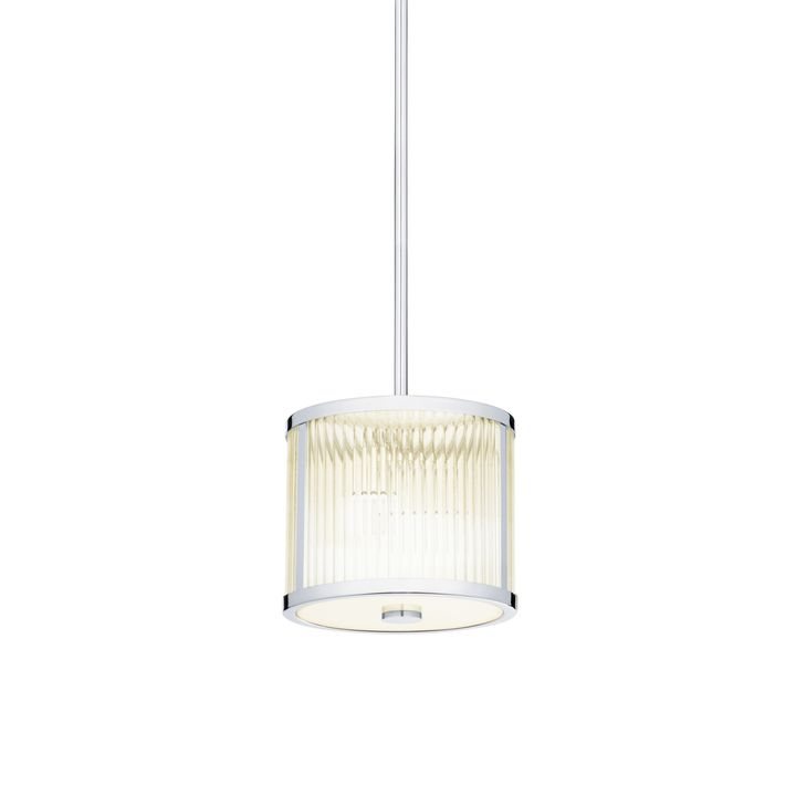 "Harper 8.5"" LED Glass Rod Pendant, Polished Nickel"