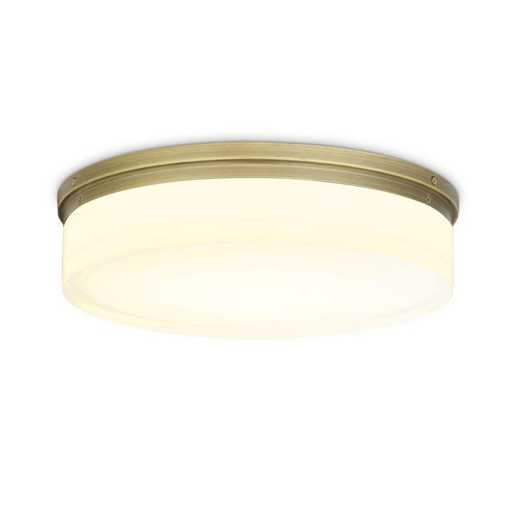 "Finn 14"" LED Round Glass Flush Mount, Aged Brass"