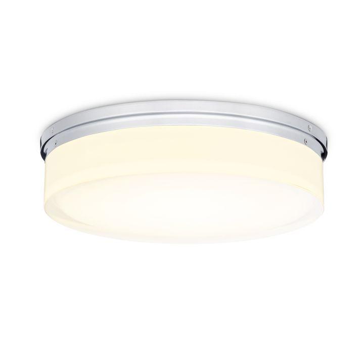 "Finn 14"" LED Round Glass Flush Mount, Polished Nickel"