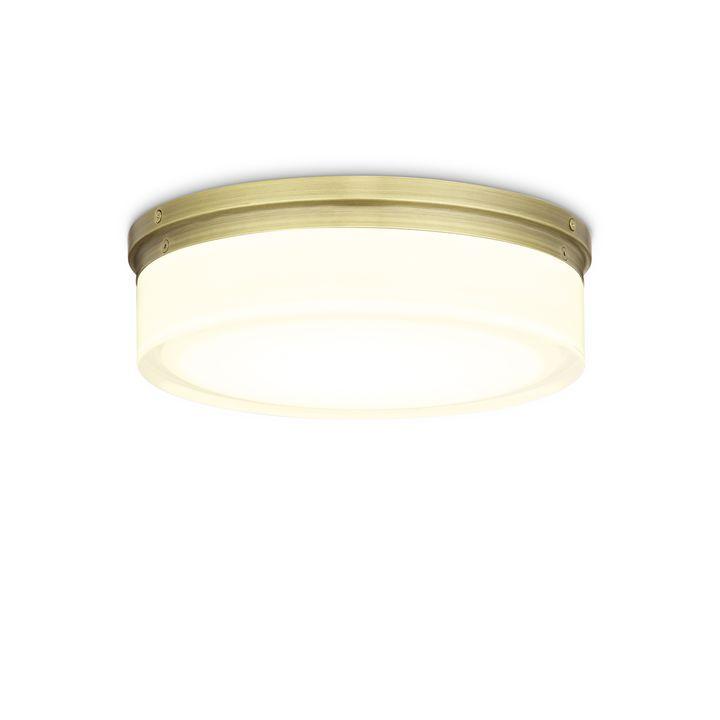"Finn 11"" LED Round Glass Flush Mount, Aged Brass"
