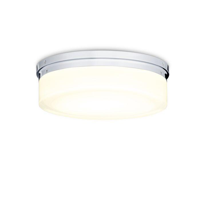 "Finn 11"" LED Round Glass Flush Mount, Polished Nickel"