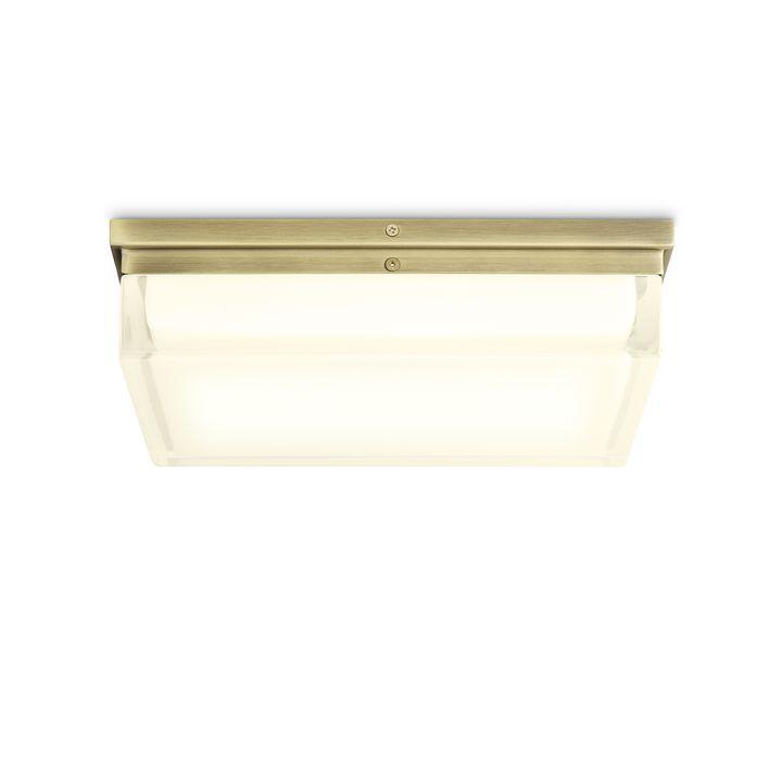 """Finn 12"""" LED Square Glass Flush Mount, Aged Brass"""