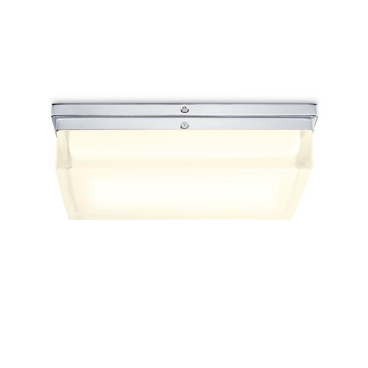 "Finn 12"" LED Square Glass Flush Mount, Polished Nickel"