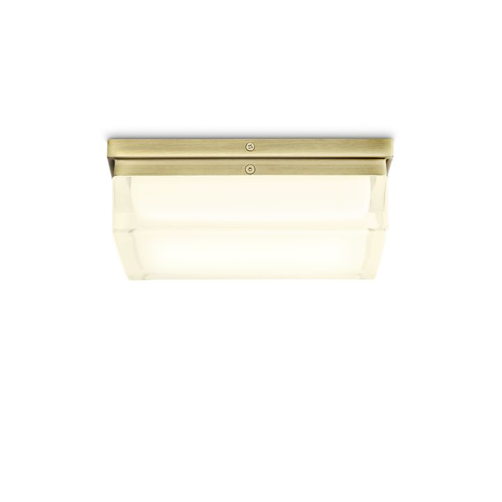 "Finn 9"" LED Square Glass Flush Mount, Aged Brass"