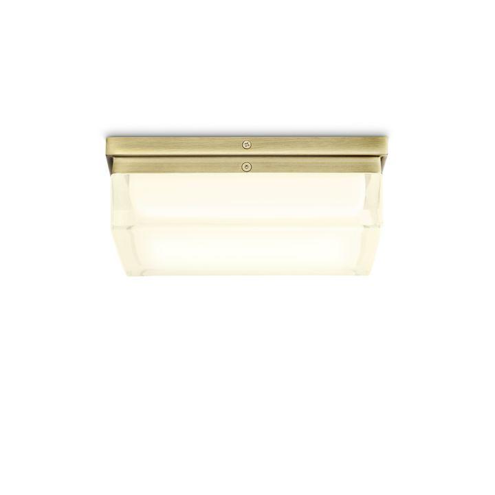 """Finn 9"""" LED Square Glass Flush Mount, Aged Brass"""
