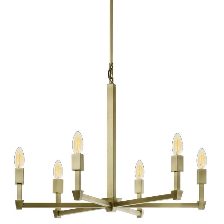 Kingston 6-Light Round Chandelier, Aged Brass