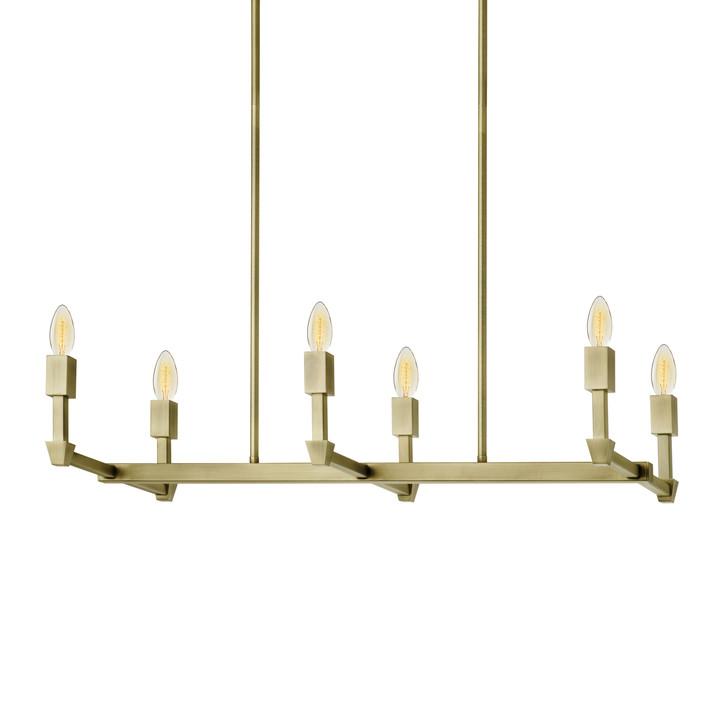 Kingston 6-Light Rectangle Chandelier, Aged Brass