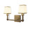 Kingston 2-Light Vanity with Opal Glass Shade, Aged Brass