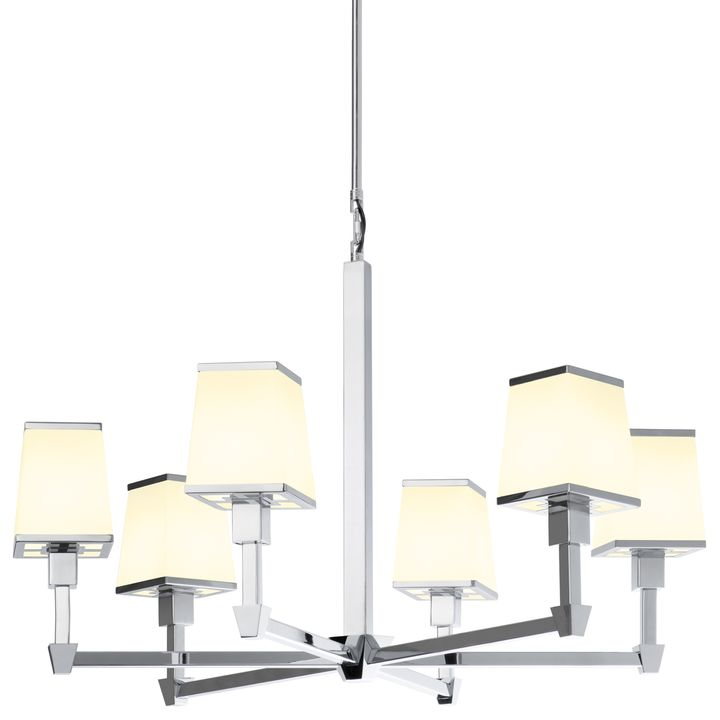 Kingston 6-Light Round Chandelier with Opal Glass Shade, Polished Nickel