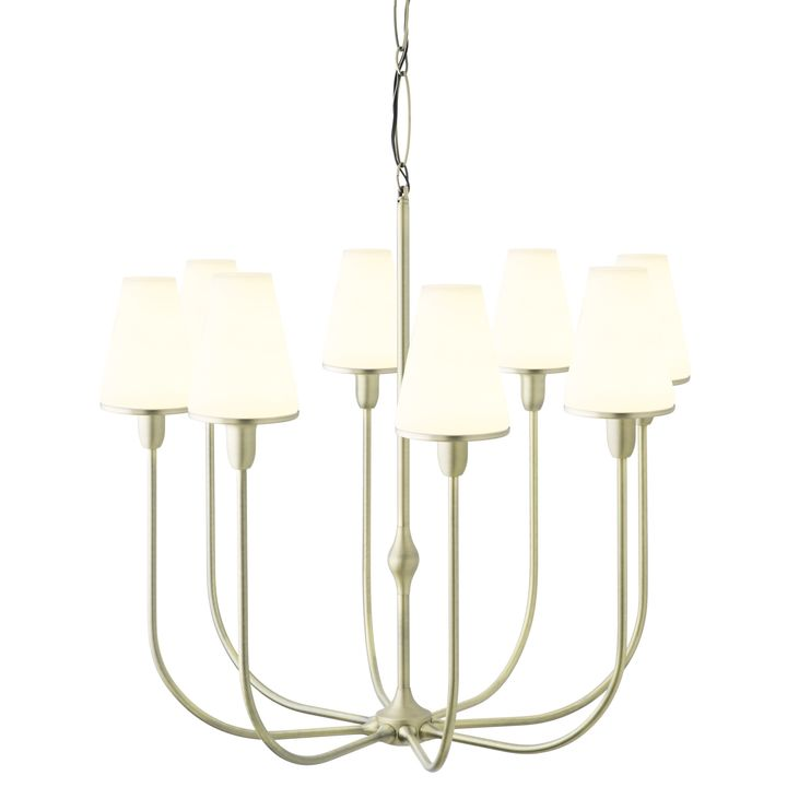 Arden 8-Light Chandelier with Tapered Opal Shade, Aged Brass