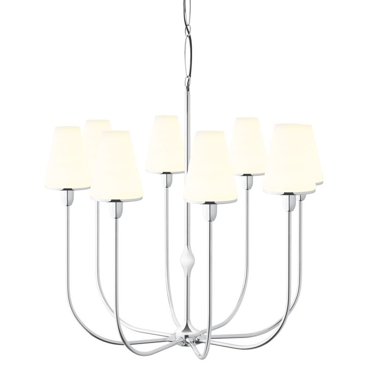 Arden 8-Light Chandelier with Tapered Opal Shade, Polished Nickel
