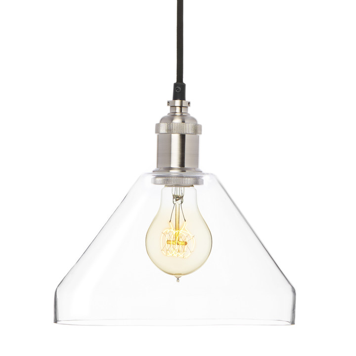 Alton Pendant with Tapered Glass, Satin Nickel
