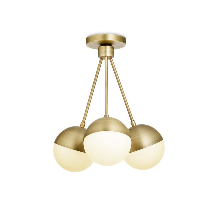 Powell LED 3-Light Semi-Flush with White Globes, Aged Brass