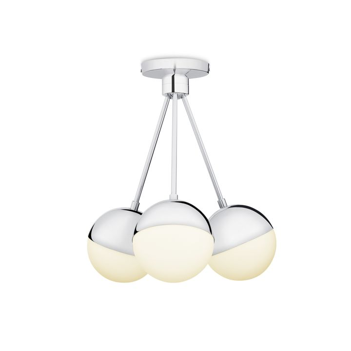 Powell LED 3 Light Semi Flush With White Globes, Chrome