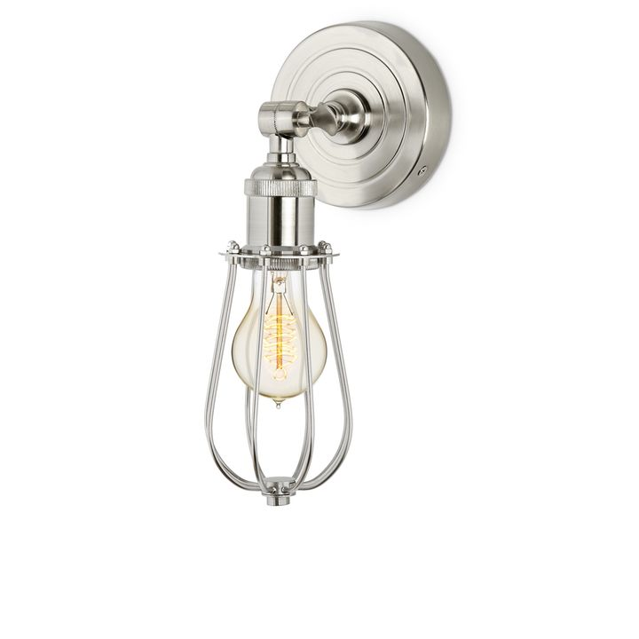 Alton Wall Sconce with Raindrop Cage, Satin Nickel