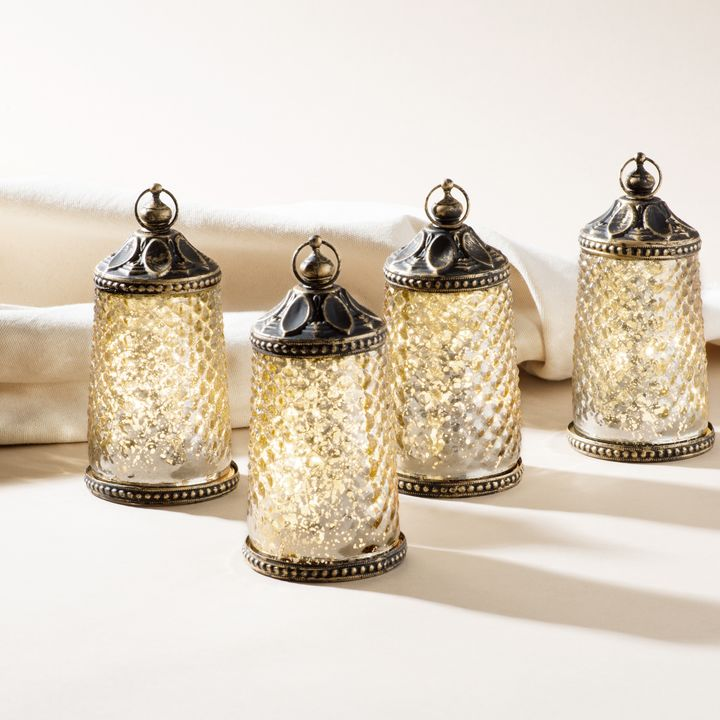 Amira Tall LED Mercury Glass Lanterns, Set of 4