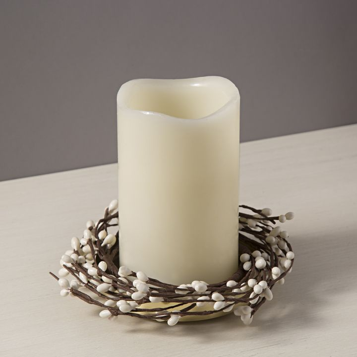 White Berry Pillar Candle Rings, Set of 3