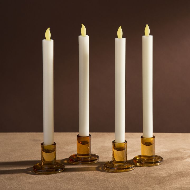 Verrea Amber Taper Candle Holders, Set of 4