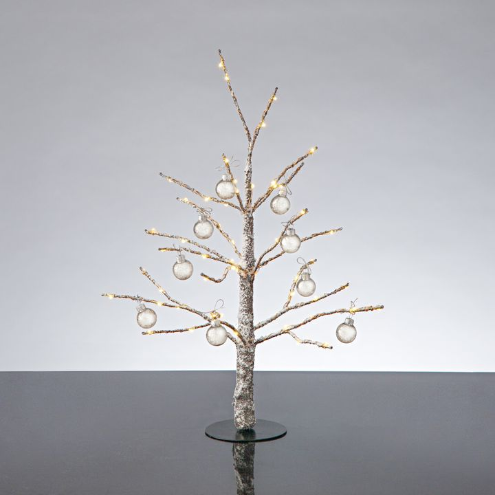 """Frosted LED-Wrapped Wintry Tree, 18"""" with Antique Glass Ball Ornaments"""