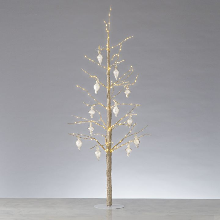 """Glittering LED-Wrapped Wintry Tree, 48"""" with Antique Glass Finial Ornaments"""