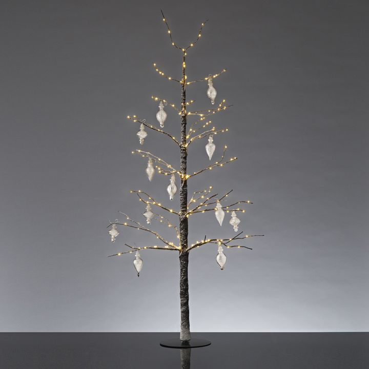"Frosted LED-Wrapped Wintry Tree, 48"" Antique Glass Finial Ornaments"