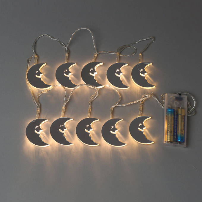 Mirrored Moon Battery String Lights, Strand of 10