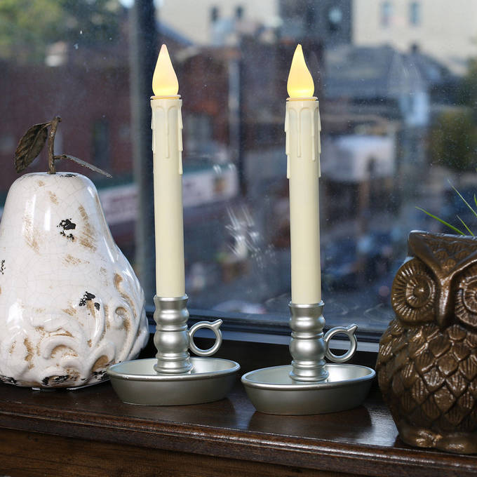 lightscom decor flameless candles window candles ivory drip battery window candles with pewter holders set of 2