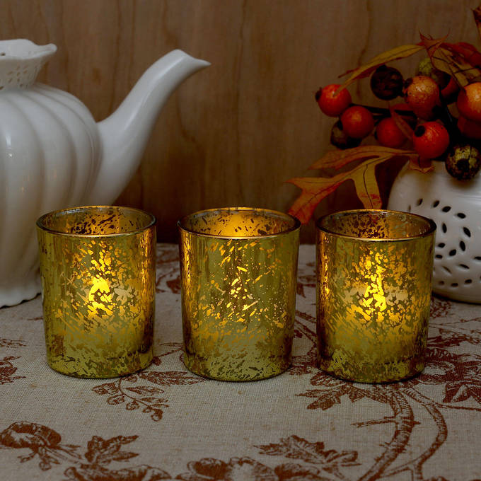 Metallic Mercury Gold Glass Poured Wax Votives, Set of 3
