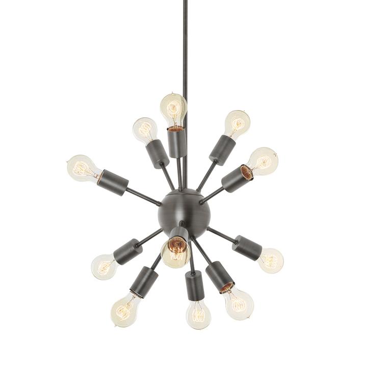12-Light Sputnik Pendant in Pewter, Small