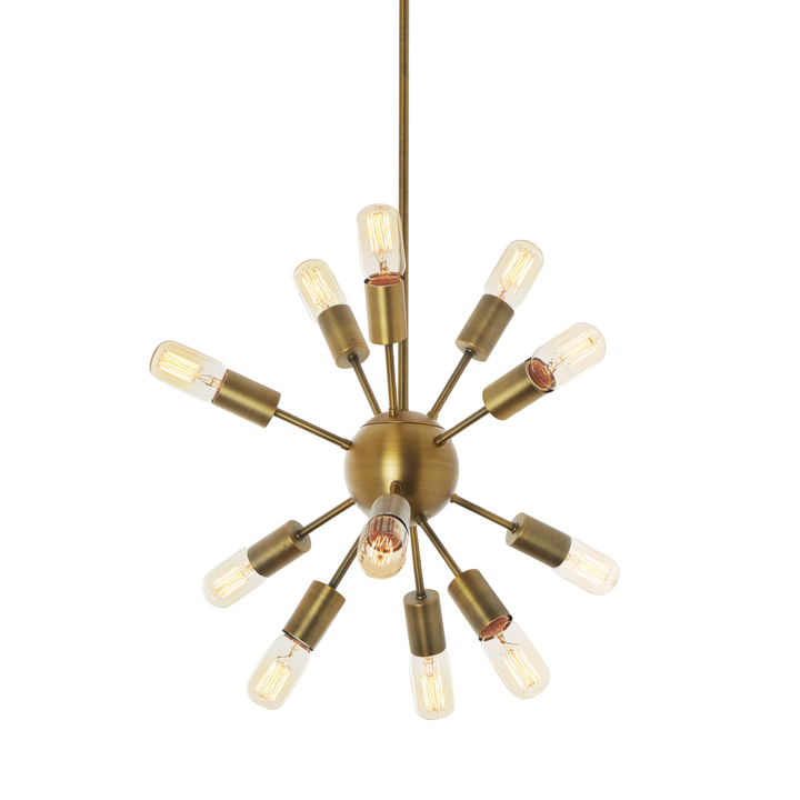 12-Light Sputnik Pendant in Aged Brass, Small