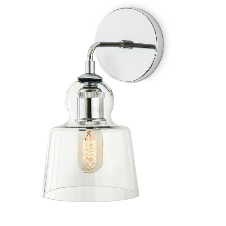 Great Alton Wall Sconce With Tapered Bell Glass, Chrome ...