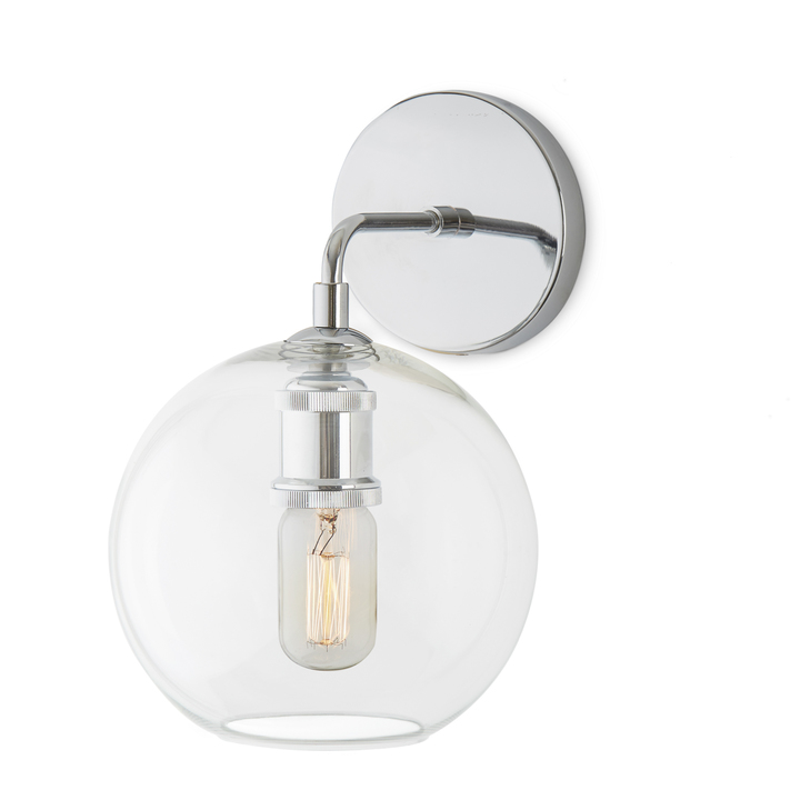 Attractive Alton Wall Sconce With Clear Globe, Chrome
