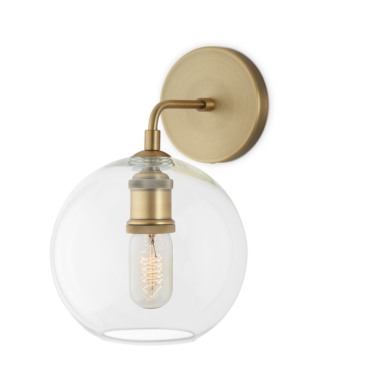 Hoyt Wall Sconce with Clear Globe, Aged Brass