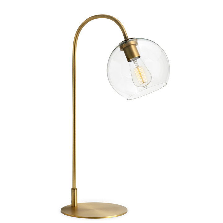Amazing Celeste Table Lamp With Clear Globe, Aged Brass ...