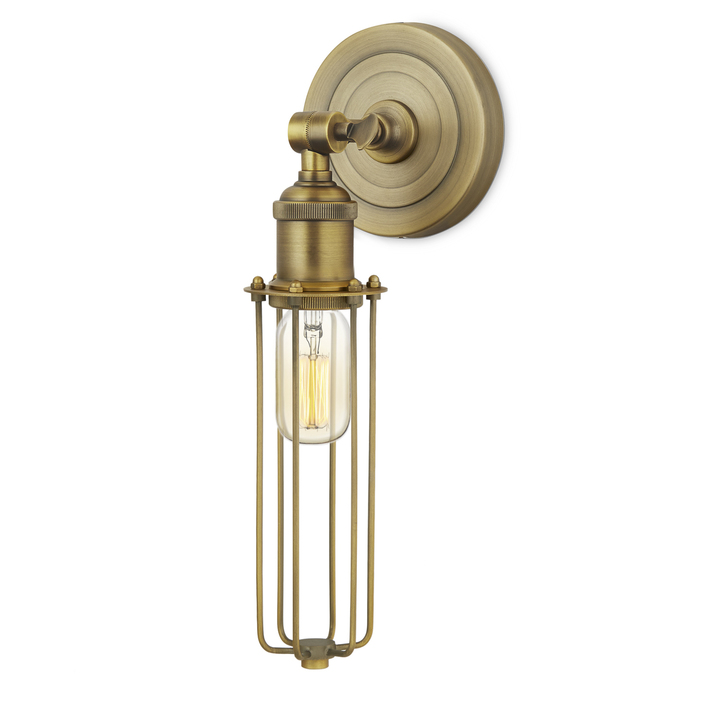 Clifton Wall Sconce with Slim Cage, Aged Brass