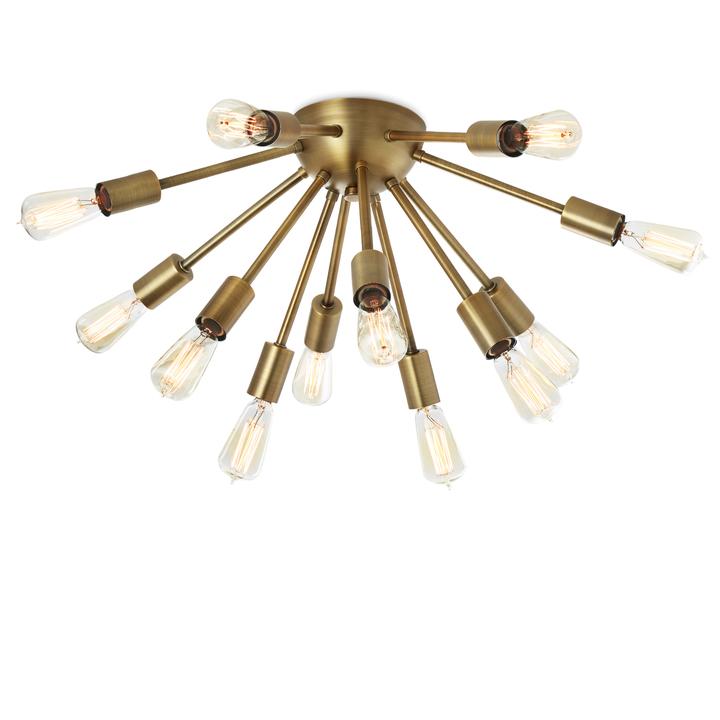 12-Light Sputnik Flush Mount, Aged Brass