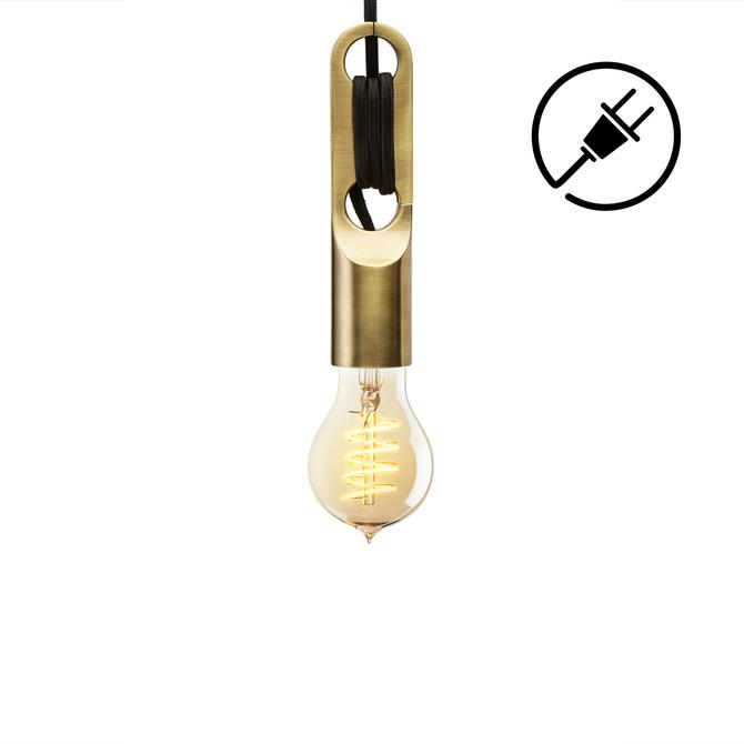 Astor Adjustable LED Plug-In Pendant, Aged Brass