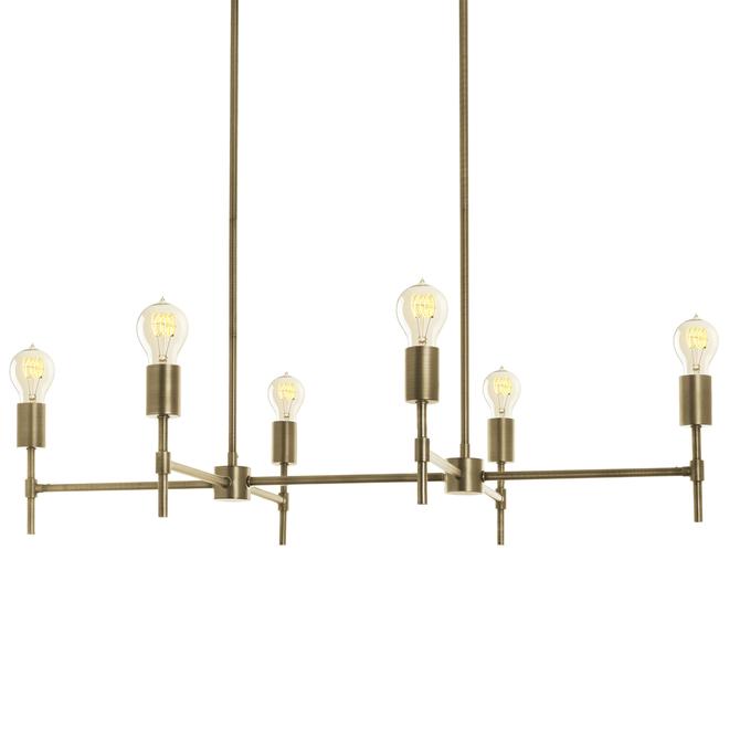 Prospect 6-Light Linear Chandelier, Aged Brass