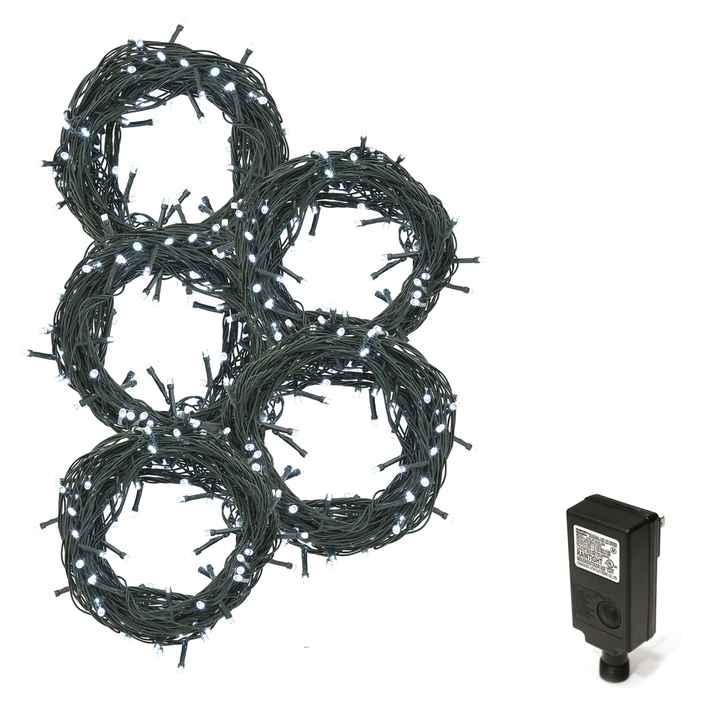 Cool White LED Christmas Lights Plug-In, 150 feet