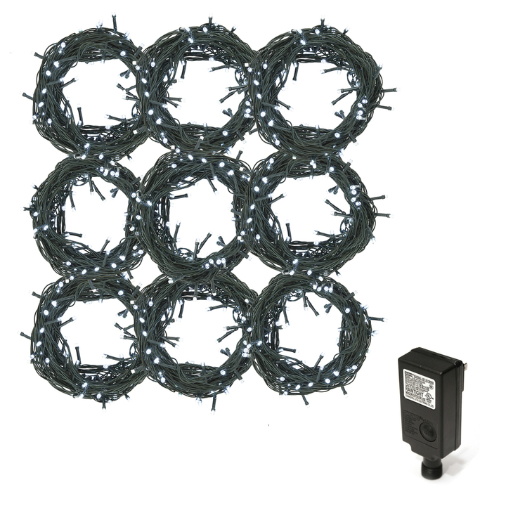 Cool White LED Christmas Lights Plug-In, 270 feet